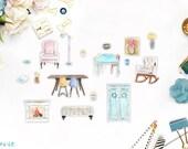 Furniture Sticker Set, 17 pcs
