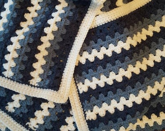 Oh So Blue Crochet Afghan - Large Crochet Blanket in Navy, Steel Blue and White