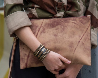 SALE! Handmade Brown Leather Pouch  / Distressed Leather Portfolio / Leather Clutch / Zipper Clutch Wristlet Clutch Envelope Clutch Pochette