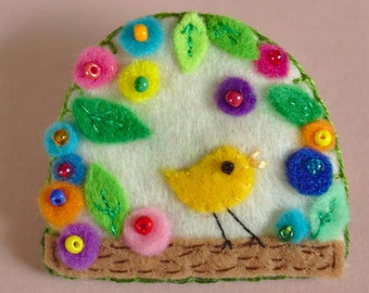 Spring, felt brooch, little bird, and flowers, jewel
