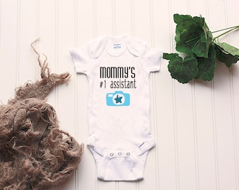Photographer Mom Onesie® - assistant, baby BOY Onesie®, newborn photography, newborn photographer, camera Onesie®, photography Onesie®