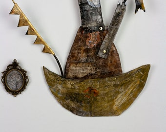 King of the Boat - paper mache folk art sculpture boat wall hanging