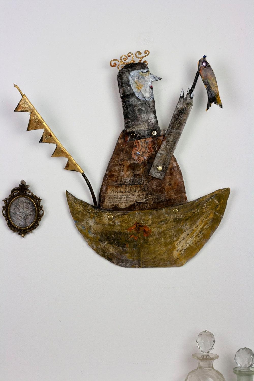 King Of The Boat Paper Mache Folk Art Sculpture Boat Wall