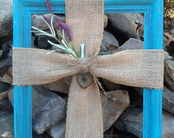 Burlap cross on picture frame