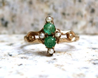 Victorian Emerald Glass Ring, Vintage Engagement Ring, Antique Pearl Ring