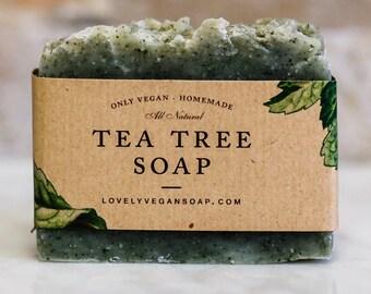 Tea Tree Soap, vegan soap, Tea tree soap bar, Tea tree soap acne, Christmas gift, homemade soap, natural soap, handmade soap, acne soap