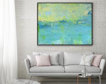 Large Print Giclee of Original Wall Art, Acrylic Abstract Painting, Blue, Mint, Yellow Sea Lake, Minimalist Landscape Reproduction Art