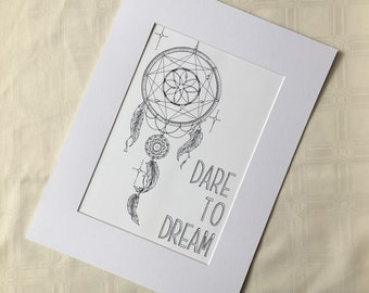 Dreamcatcher Art, Dare To Dream Art Print, Boho Decor, Nursery Art, Zentangle Art Print, Wall Art Print, Kids Room Ideas, Nursery Decor,