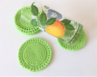Coasters colored green handmade crochet  Set of six coaster Drink  Home decor  Housewarming gift