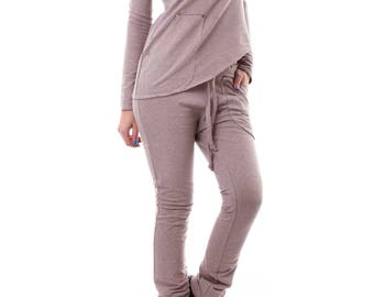 Sport set, tricot set, cold shoulder blouse, fitted pants, grey set, casual set, sport costume, tricot costume, drop crotch pants