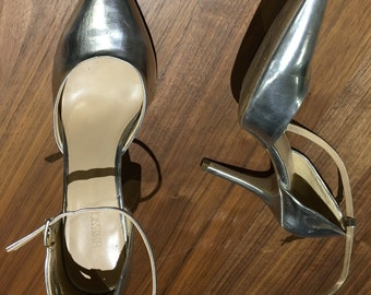 VTG Silver Metallic Party Pump Heels