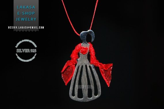 Woman Figure Princess Necklace Sterling Silver Handmade Jewelry Fine Greek Art Gift Flamingo Dance Espanol Spain Red Dress Princesa Regina