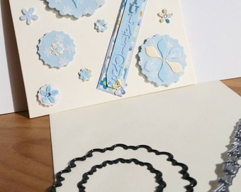 A square cream congratulations card, handmade, handcrafted, embellished.