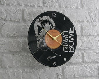 David Bowie vinyl record wall clock, ideal for home decor, unique gift present and hand made art, interior design for music fan, 043
