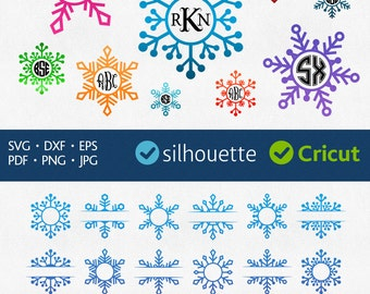 Snowflake Svg Snowflake Monogram Svg Christmas Frame Svg Initial Border Svg Cut Designs for Cricut Snowflake Dxf Silhouette Cuttable Image