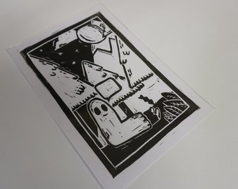 Happy Ghost - Linoprint