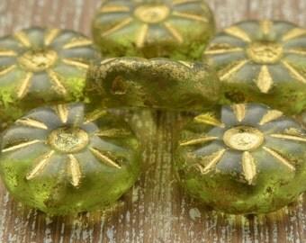 Czech Glass Daisy Beads, Olive Green 12mm, Czech Beads, Glass Beads, Bead Supplies, Jewellery Supplies, Flower Beads, Green Beads