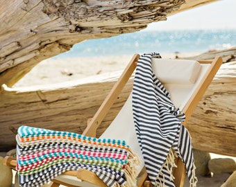 Antibes Striped Pestemal Turkish Towel, Beach Towel, Bath Towel, Travel Towel, 100% Cotton