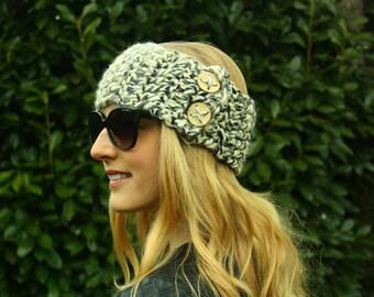 Cream Button Ear Warmer, Women's Winter Headwarmer, Headband, Knitted