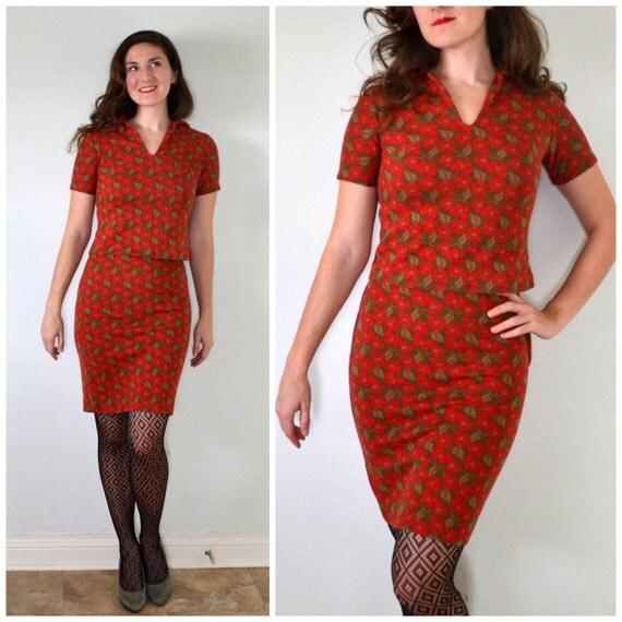 Mod Pop Skirt Set   vintage 60's floral print mini skirt sweater set   small xs