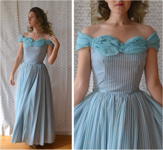 Dreaming Awake Dress | vintage sky blue 40's lace evening gown / off the shoulder