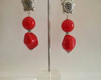 Galapagos, red dangling earrings with turtles