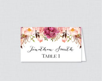 Printed Wedding Place Cards - Pink Floral Wedding Table Place Cards, Rustic Pink Flower Printable Place Cards for Wedding 0004