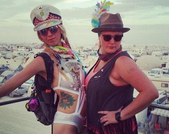 Custom Hat I Burning Man I Captain Hat I Custom Captain Hat I Custom Hats I Playa Costume I Black Rock City I Playa Wear I Rave Clothing
