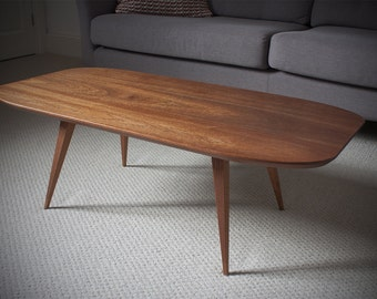 Planform low curved coffee table in Sapele Mahogany