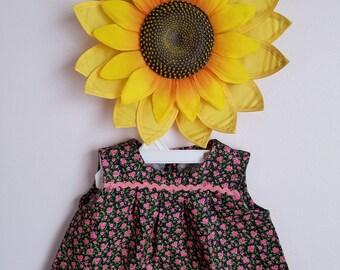 Pink Roses Cotton Baby Girl Dress.Ready to Ship.Size XXS (0-3m),XS (1-3m), S (6m).