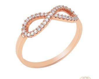 14Kt Rose Gold Infinity Ring