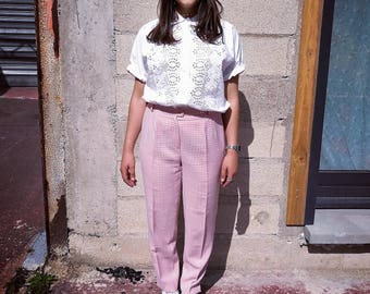 "Vintage 80s High Waist pink ""Vichy"" checks Trousers"