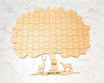Wedding guest book jigsaw puzzle Deers Personalized puzzle Unique guest book ideas Puzzle Guest book alternative Sign guest book Wedding