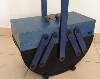 Sewing box, sewing basket, jewellery chest, 60s wood box blue black