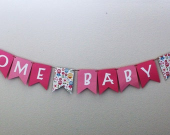 Welcome Baby Girl Banner / Pink / Owls