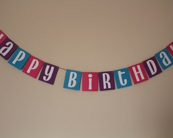 Happy Birthday Banner / Pink, Purple, & Aqua Blue, White Letters / Add Name / Hanging Banner / Birthday Decorations / Girls Party