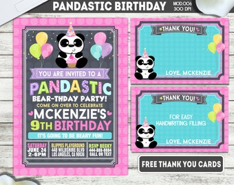 PRINTABLE or PRINTED|| Pandastic Party!|| Girl Birthday Invitation|| FREE Thank you cards|| Any occasion, any wording!!