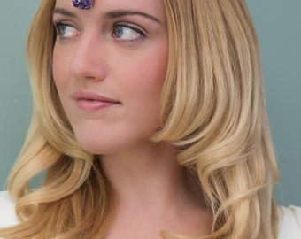 Raw Crystal Crown Head Chain, Amethyst Meditation Gold Plated Headchain, Boho Crystal Hair, Boho Head Jewelry, Jewel Head Chain