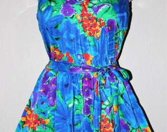 Vintage MAXINE of HOLLYWOOD Swimsuit size 18 Skirted Romper Style Blue Floral Print in New Condition