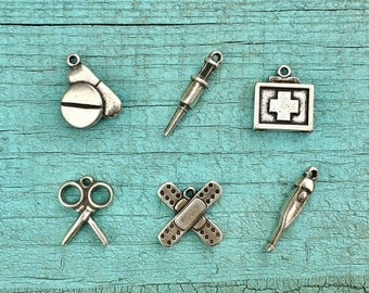 Pack 6 Different Doctor Charms, Nurse Charms, Doctor DIY Bracelet, Nurse DIY Bracelet, Silver Zamak Charms, DIY Jewelry