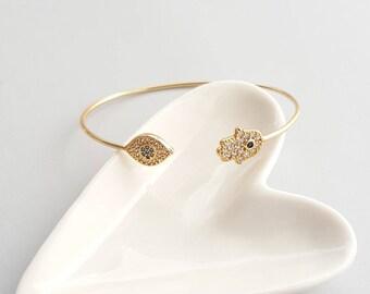 Cubic Hamsa Eye Bracelet, Hand Eye Bracelet, Hamsa Gold Bracelet, Hamsa Charm Bracelet, Hamsa Hand Bracelet, Eye Bracelet, Hamsa Bracelet