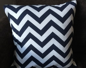 Navy blue and white chevron pillow cover