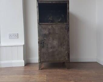Wooden Topped Industrial Metal Cupboard