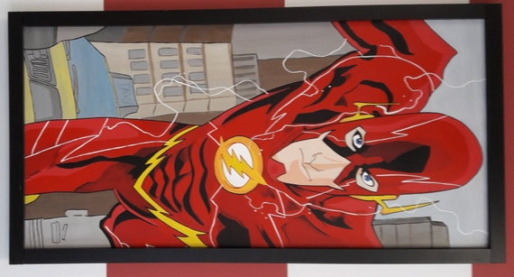 DC Comic Superhero Flash original acrylic painting