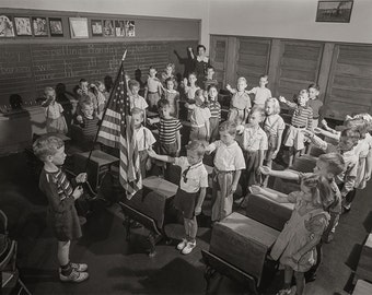 Historical Photography - School Children Salute The US Flag, 1942, Rochester, NY, Student Photos, Gift For Teacher, Wall Decor