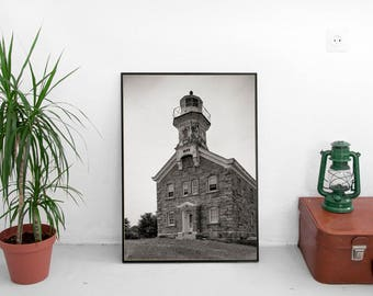 Lighthouse Photo Print, Great Captain Island, Greenwich, Fairfield  CT, Cottage Decor, Beach Wall Art, Housewarming Gift 1999