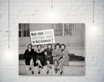 Women protest photo against the Japanese Silk boycott in 1938, Protest Print, Wall Decor, Germany, Women's Clothes, Stocking, Nylons