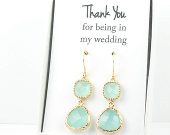 Long Mint Gold Earrings, Gold Mint Earrings, Mint Green Gold Earrings, Bridesmaid Jewelry, Green Wedding Jewelry, Bridesmaid Gift
