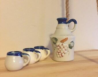 Vintage Miniature Vase and Mini Cups