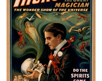 Thurston, The Greatest Magician. Vintage Poster